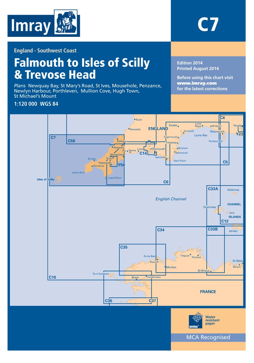 IMRAY CHART C 7 Falmouth to Isles of Scilly and Trevose Head