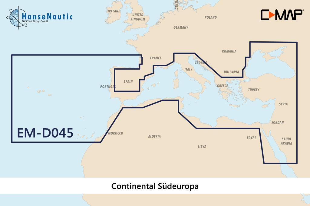 C-MAP 4D MAX EM-D045 Continental Südeuropa