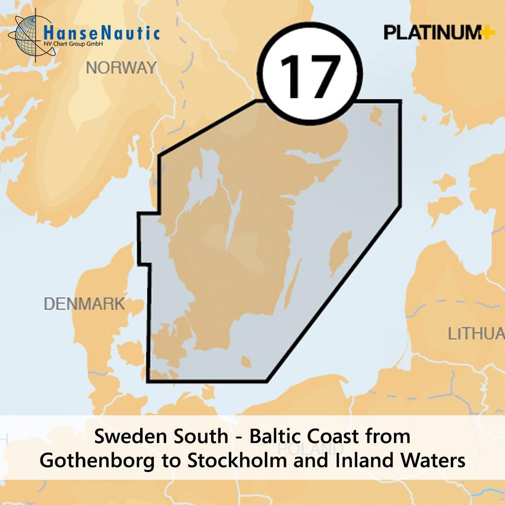 Navionics Platinum+ Schweden Ostseeküste v. Göteborg bis Stockholm und Vänern Vättern Götakanal (17P+)