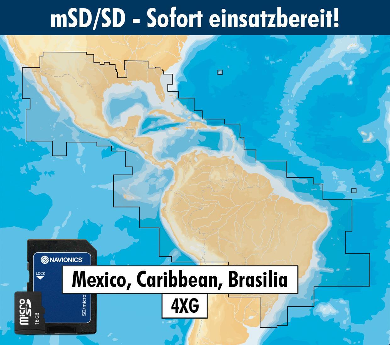 Navionics+ preloaded 4XG mSD Mexico Caribbean to Brazil