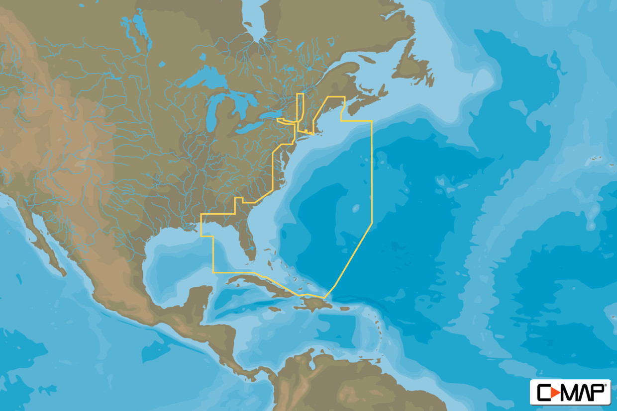 C-MAP MAX Wide NA-M022 USA East Coast & Bahamas