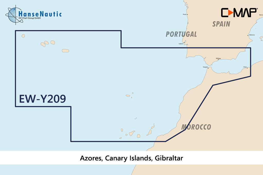 C-MAP Discover Azoren, Kanarische Inseln, Gibraltar EW-Y209