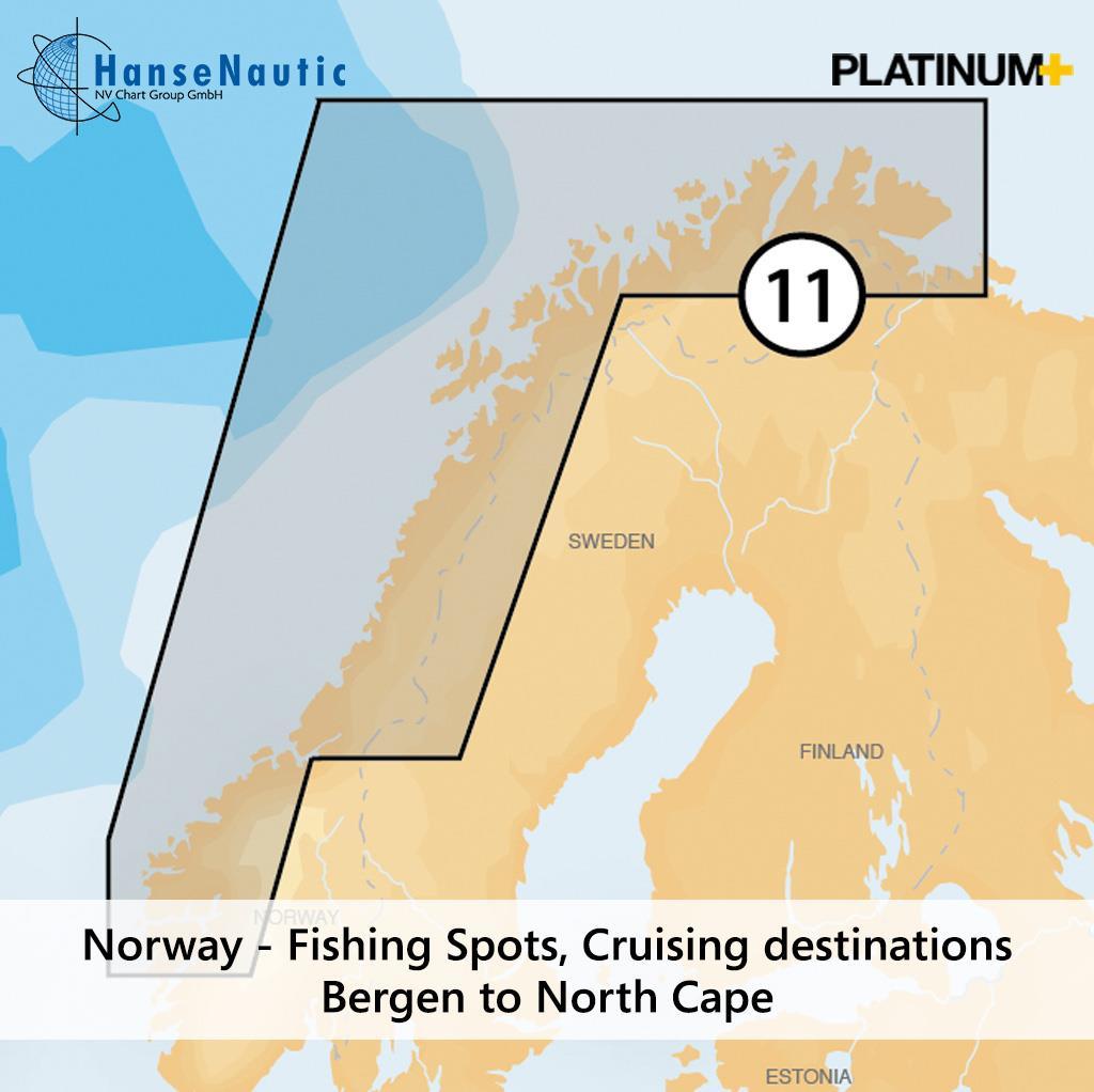 Navionics Platinum+ Norwegen Fjorde u. Küste von Bergen bis Nordkap 11P+