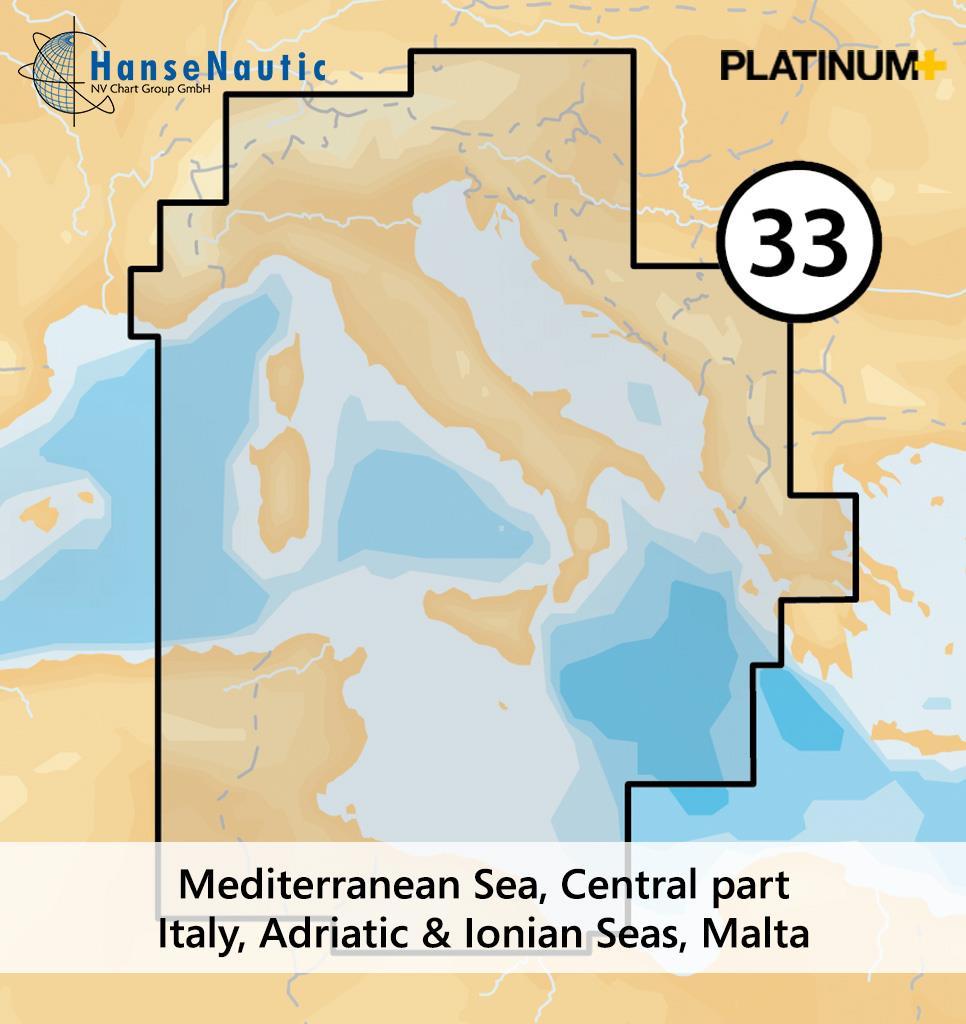 Navionics Platinum+ Mittelmeer (zentral) Italien Adria Ionisches Meer Tunesien - 33P+