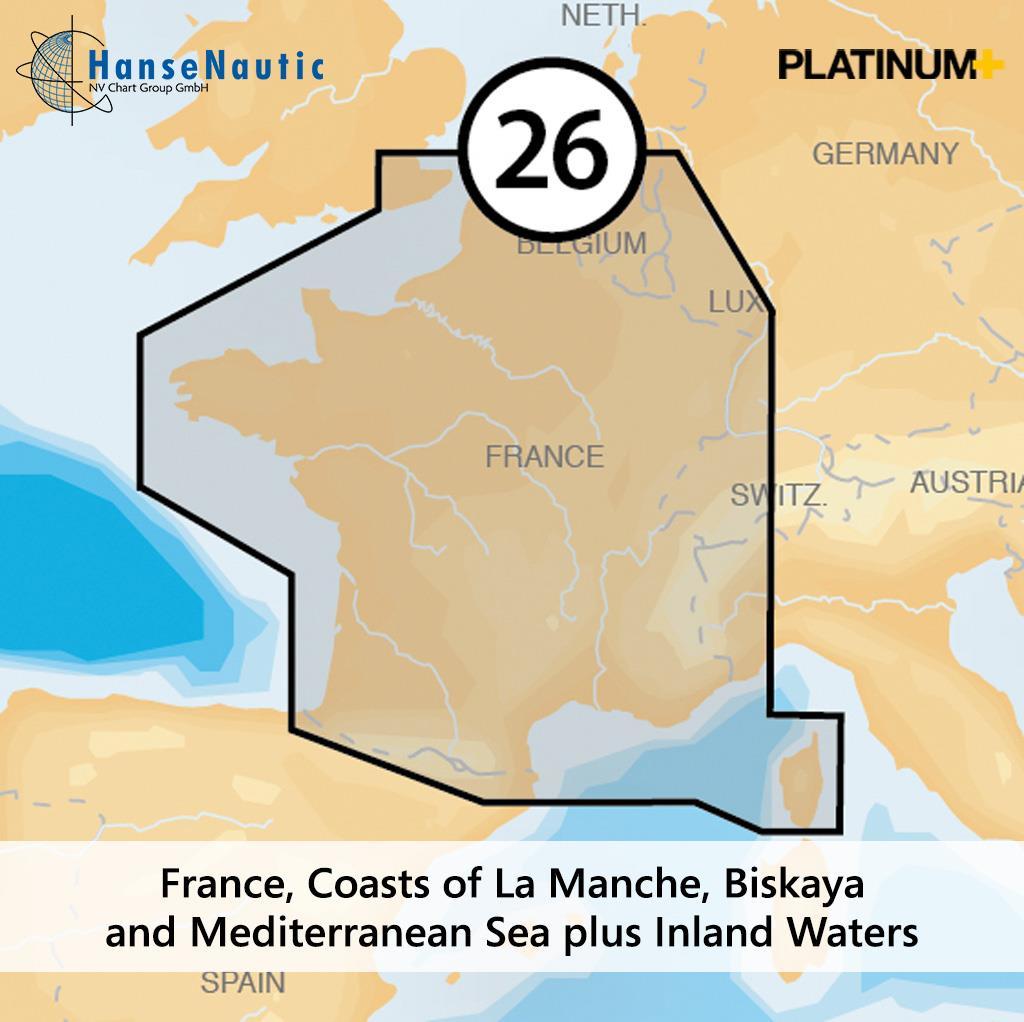 Navionics Platinum+ Frankreich - Küsten v. Kanal Biskaya Mittelmeer Korsika & alle Binnengewässer - 26P+