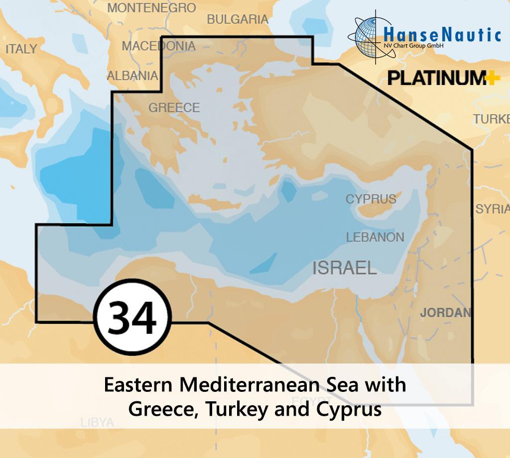Navionics Platinum+ Mittelmeer (Ost) mit Griechenland (Ägäis) Türkei Zypern - 34P+