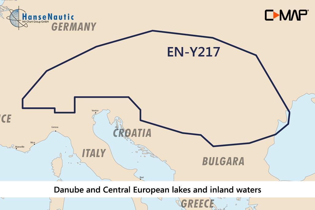 C-MAP Discover Donau u. zentraleuropäische Seen und Gewässer EN-Y217